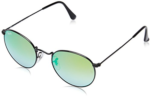 Ray-Ban RB3447 Round Metal Sunglasses, Shiny Black/Green Mirror Gradient, 50 mm