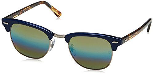 (Ray-Ban RB3016 Clubmaster Square Sunglasses, Metallic Light Bronze/Blue Rainbow Flash, 51)
