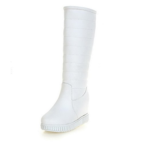AllhqFashion Womens Pull-On High-Heels PU Solid Mid-Top Boots White QPR5QES1