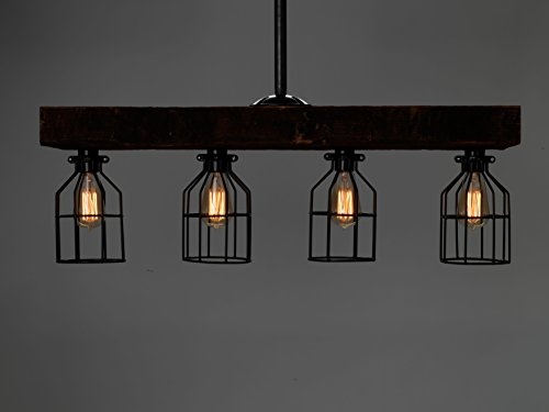 LIMITED SUPPLY - Farmhouse Style Reclaimed Wood Beam Rustic Decor Chandelier Light - Early 1900's Wood Hand Crafted in the USA (Reclaimed Wood) by Barrister & Joiner Lighting (Image #4)