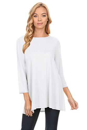 White Tunic Tops Reg And Plus Size Crew Neck A Line Flowy Swing Top