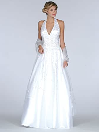 Amazon.com: Formal Evening Gown. White Halter Ball Gown