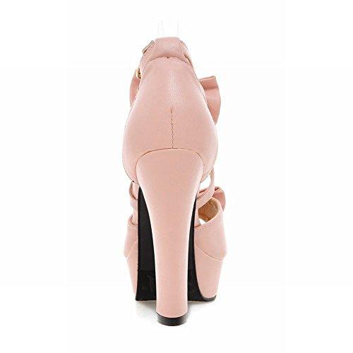Carolbar Womens Lolita Elegance Sweet Gesp Multi Bows Peeptoe Barbie Prinsessen Sandalen Roze