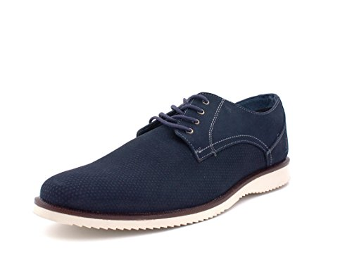 Paruno Mens Suede Casual Shoes Imported Genuine Leather Suede Blue upioP