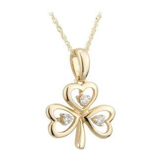 Solvar 14K Diamond Shamrock Pendant ()