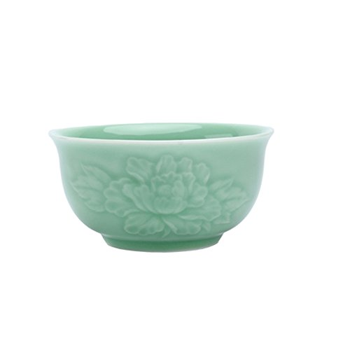 - Chinese Rice Bowl 13-Ounce Celadon 5Inch Cereal Bowl Intaglio with Peony Porcelain (Green)