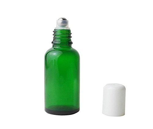3PCS Empty Green Glass Roll-on Bottles with Stainless Steel