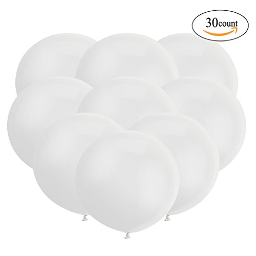 18 Inch Big Balloon Latex Giant Balloon Jumbo Thick Balloons for Photo Shoot/Birthday/Wedding Party/Festival/Event/Carnival Decorations 30ct/pack White (Big White Balloons)