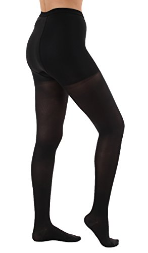 Graduated Compression Microfiber Support Tights with Control Top - Medium Compression 15-20mmHg - XL,Black - Absolute Support A502