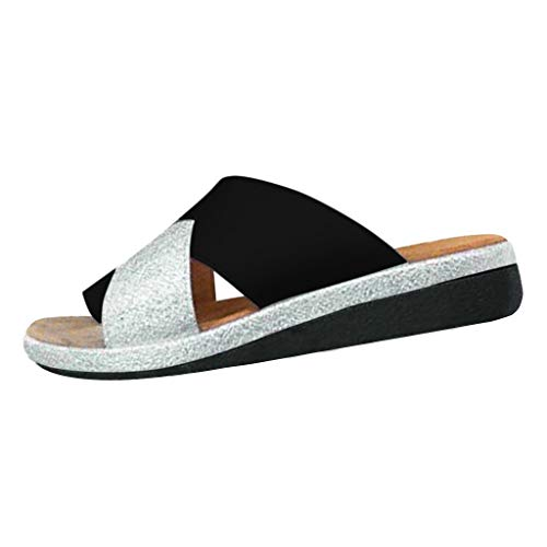 - Women's Flip Flop Wedge Sandal Ladies Beach Travel Sandal Shoes Comfort Fashion Open Toe Thong Slid Slippers Summer Black