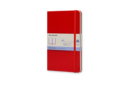 Moleskine Art Plus Sketchbook, Large, Plain, Red, Hard Cover (5 x 8.25) by Moleskine