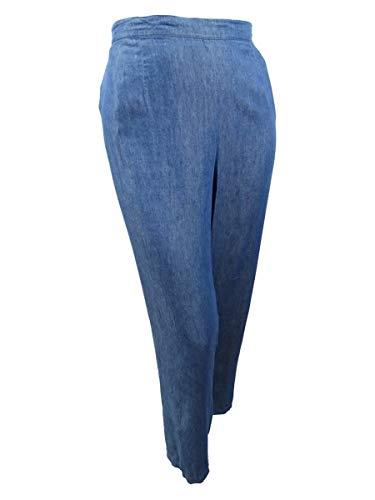 Alfred Dunner Women's Plus Size Sun City Pull-On Denim Pants (22W, Denim)
