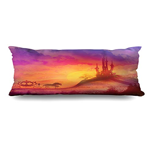 Ahawoso Zippered Body Pillow Cover 20x60 Inches at Femininity Carriage Castle Sunset Painting Silhouette Horse Medieval Landmarks Parks Outdoor Decorative Cushion Case Home Decor Pillowcase (Silhouette Horse Painting)