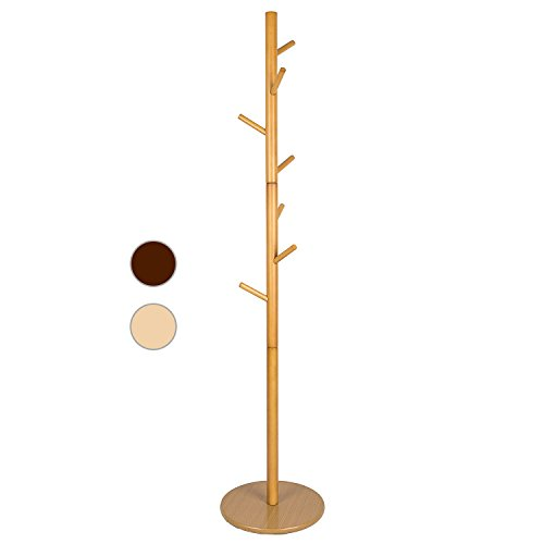 Coat Rack Round (LCH Free Standing 7-Hooks Solid Wood Coat Rack Hall Tree with Round Base Diameter of 20'', Rod Diameter 2'')