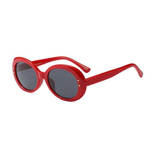 Round Rojo Oversized Gris Lens Eyewear Unisex Frame Sunglasses Mode Inlefen Vintage Oval Retro OFPw8xqC