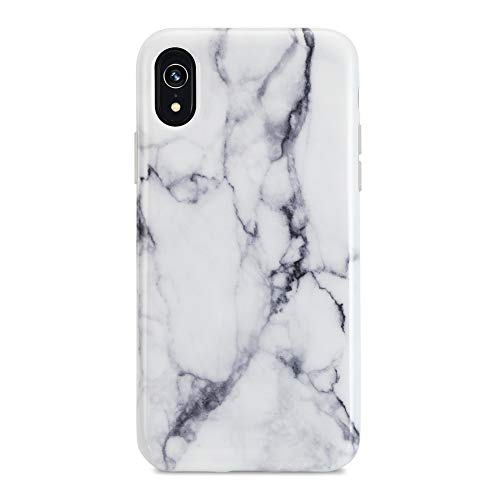 iPhone XR case, Sankton Slim-Fit Anti-Scratch Shock-Proof Anti-Finger IMD Soft TPU Cover with Design Pattern for iPhone XR 2018 6.1-Inch (White Marble)