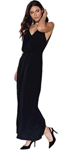 Sin Mangas Tirantes Finos Escote Triangular en V Flor de Flores Encaje Spliced Aberturas Espalda Long Maxi Larga Largo A-Line en línea Skater Plisado Dress Vestido Negro Negro