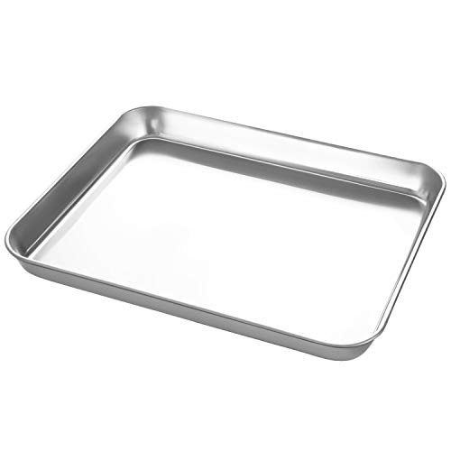 Small Stainless Steel Baking Sheets,Mini Cookie Sheets, Toaster Oven Tray Pan Rectangle Size 9Lx7Wx1H inch Non Toxic & Healthy,Superior Mirror Finish & Easy Clean by HEAHYSI, Dishwasher Safe ()