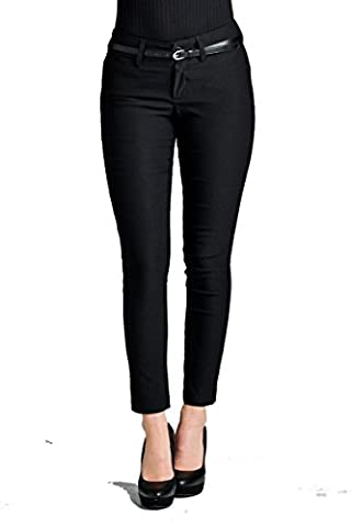YourStyle Basic Office Belted Bengaline Stretch Pants,Twill Pants, Classic Woven Pants W/ Belt (Small, - Office Basics