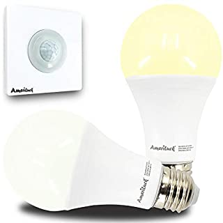 AmeriLuck Dusk to Dawn LED Light Bulb Kit with Remote Motion Activated Sensor, Multiplly Pair-able, 60W Equivalent A19, Color Temp Adjustable