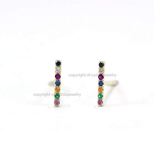 (Genuine Multi Sapphire Gemstone Rainbow Design Bar Stud Earrings Diamond Pave Solid 14k Yellow Gold Jewelry)