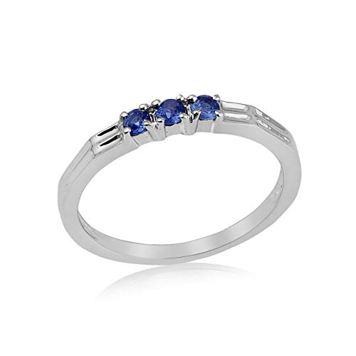 - Montana Yogo Sapphire 3 Stone Band Ring Sterling Silver