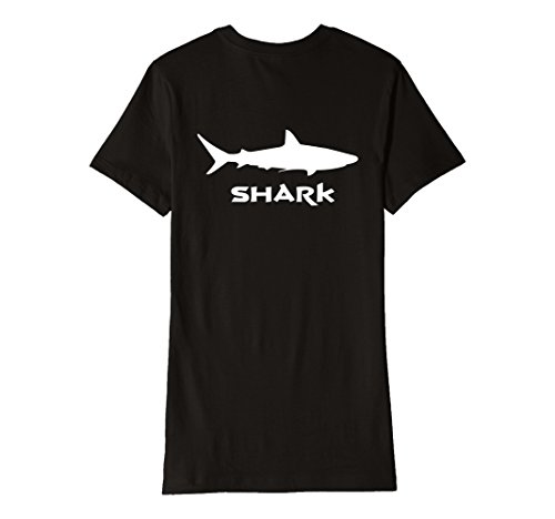 Womens Great White Shark T Shirt Back Print Large Black