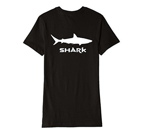 Womens Great White Shark T Shirt Back Print Large Black