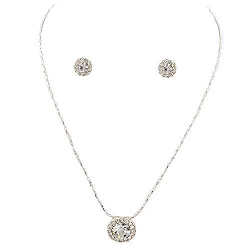 Crystal Round Fashion (Jewelry Set Silver Crystal Round Pendant Necklace Stud Earings Set)