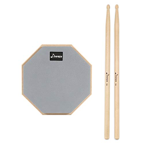 Donner 8 Inches Drum Practice Pad 2-Sided Silent Drum Pad Gray With Drum Sticks