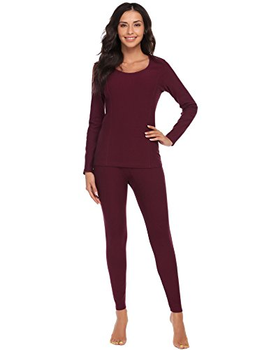 Ekouaer Women's Long Thermal Underwear Fleece Lined Winter Base Layering Set (X-Large, Wine Red) ()