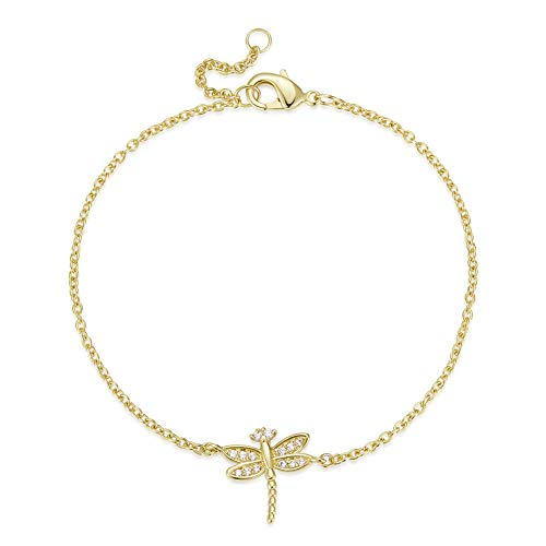 Agvana Yellow Gold Filled Dragonfly Setting White Cubic Zirconia CZ Bracelet Jewelry for Women Girls Adjustable Chain 6.7