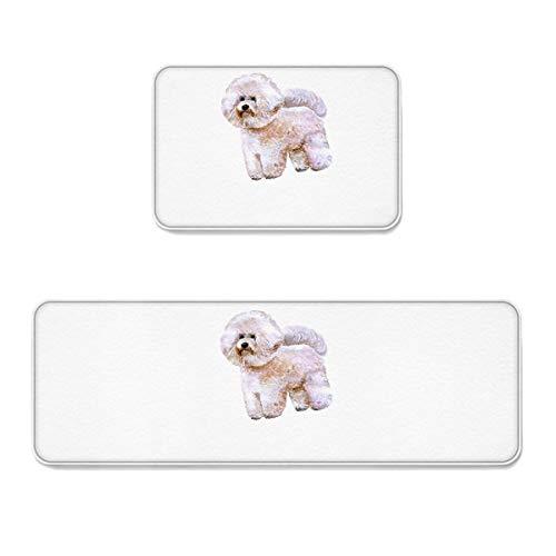 (Prime Leader 2 Piece Non-Slip Kitchen Mat Runner Rug Set Doormat Cute Bichon Frise Dog Door Mats Rubber Backing Carpet Indoor Floor Mat (15.7