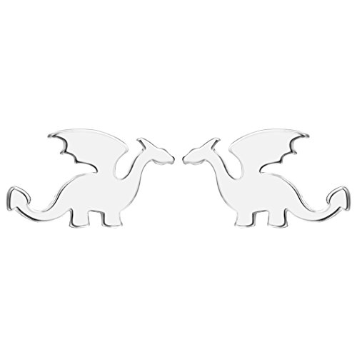 Teens Hypoallergenic Stud Earrings Gold Silver Tone Dragon Fashion Jewelry for Kids