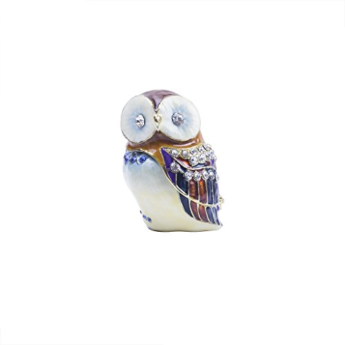 Barn Owl Figurine Trinket Box (White, Large) Baby White Trinket Box
