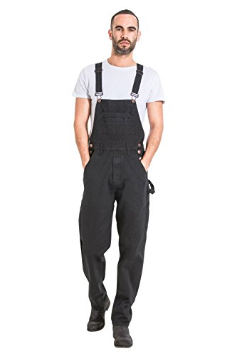 (USKEES Mens Relaxed Fit Denim Bib Overalls - Black Loose fit Overalls)