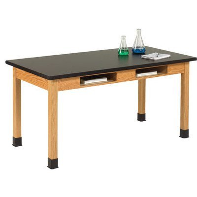Diversified Woodcrafts C7174K30N UV Finish Solid Oak Wood Table with Book Compartment and Phenolic Resin Top, 48'' Width x 30'' Height x 36'' Depth, 500lbs Capacity by Diversified Woodcrafts