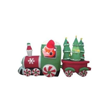 8 Foot Long Inflatable Santa Claus Driving Train on Candy Wheels Pulling Christmas Trees]()