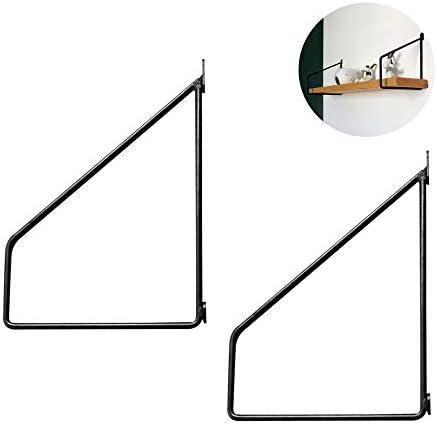 Shelf Brackets 2 X棚受け黒 鋳鉄 フローティング棚受け ブラケット150mm棚受け 金物ヴィンテージ、DIY装飾、三角形のシェルフサポート、サポートシェルフストレージ/ネジ付き