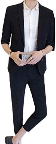 cheelot メンズワンボタンビジネステーパー立体レギュラーフィットジャケットとズボン