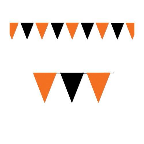 Halloween Orange & Black Outdoor Pennant Banner 18in. X 30ft.,pkg/3 ()