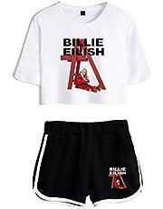 Flyself Unisex Billie Eilish Crop Top T-Shirt Shorts Set Sport Exposed Navel Short Sleeve + Shorts Suit for Women and Girls