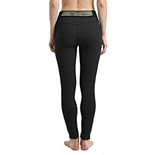 Rataves Women High Waist Leggings with Pockets Tummy Control Breathable Athletic Yoga Pants Stretch Capri Legging XXL Black