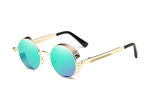 Dollger Vintage Steampunk Retro Metal Round Circle Frame Sunglasses (C10:Green Mirror Lens/Gold Frame, 100% UV Protection - Sunglasses John Lennon Mirror