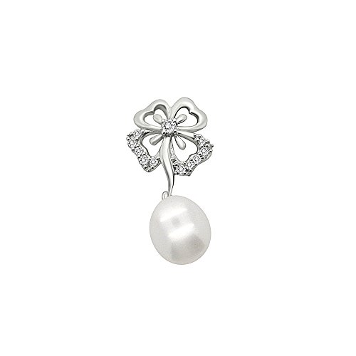 omega jewellery 10K Gold Pearl & Natural Diamond Clover Drop Pendant For Women (0.15 Ct) (Omega Style Necklace)