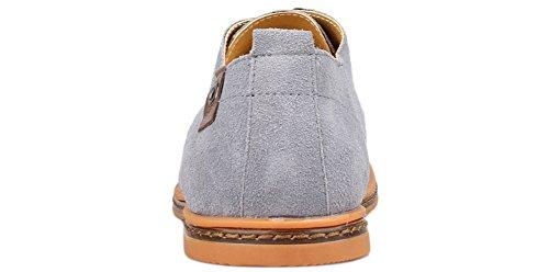 Kunsto Mens Klassiska Läder Oxford Flats Skor Snörning Grå