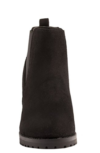 Elara Damen Stiefeletten | Klassische Ankle Boots | Chelsea Boots Blockabsatz |chunkyrayan Schwarz