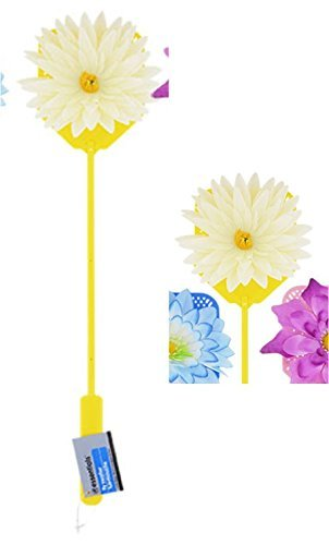 Spring Summer Plastic Fly Swatters with Flower Embellishments YELLOW DAISY by Fly