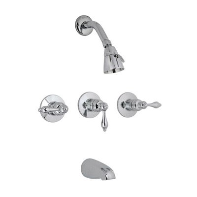 Banner 641-B Bathroom, Three Handle Tub and Shower Faucet-Chrome, Castille Collection - Collection Lever Handle Tub