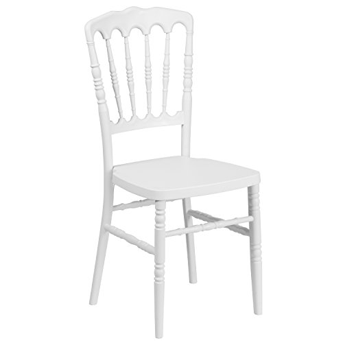 Flash Furniture HERCULES Series White Resin Stacking Napoleon Chair (Chairs Wood Desk White)